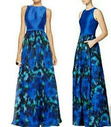 SALE ✔$1300 THEIA STUNNING FLORAL MULTI COLOR BLUE RUNWAY DRESS US 6