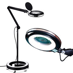 Brightech Pro Magnifying Floor Lamp with Rolling Wheel Base Black Open Box
