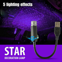 USB Car Interior Roof LED Star Light Atmosphere Starry Sky Night Projector Lamp $7.59