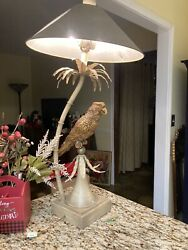 RARE VINTAGE LAMPCRAFTERS PARROT LAMP ON A PALM TREE $189.95