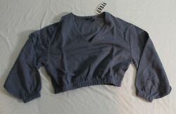 Out From Under Women#x27;s V Neck Crop Sweatshirt SV3 Blue Small NWT $24.99