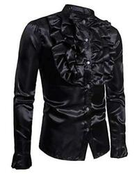 Mens Novelty Tuxedo Shirts Gothic Long Sleeve Tops Club Style Black Size 2.0 $9.99