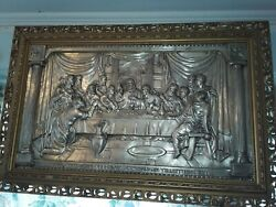 Antique LAST SUPPER Metal Relief Silver Plate Religious Christian Wall Art Decor $500.00