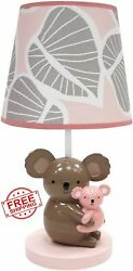Pink Gray Baby Koala Table Desk Shade Lamp Bulb Collection Vintage Nursery Cute $68.43