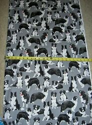 Border Collie Collies Dog Dogs 7365 Gray Multi Timeless Durable Cotton Fabric $9.49