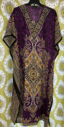 Good Times Dress MuuMuu Maxi Women#x27;s One Size XL Kaftan Boho Hippie India Made $39.99