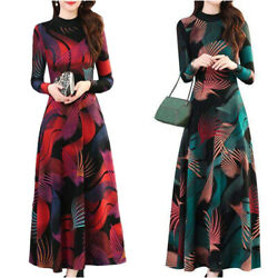 Women#x27;s Floral Long Sleeve Maxi Dress Casual Party Cocktail Slim Swing Dresses $18.99
