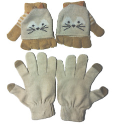 Juniors Bongo Fox Gloves 2 Pack Flip Top Gloves Mittens and Tan Texting Gloves $12.99