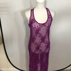 New Forever 21 Lace Beach Cover Up Long Dress Women Size Small Purple E19 $7.99