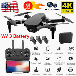 RC Drone WiFi FPV 4K HD Dual Camera Selfie Drone Foldable Quadcopter 3 Battery $42.09