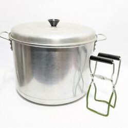 RARE Vintage CENTURY ALUMINUM WARE Large Stock Pot w Canning Rack and Holder $74.99