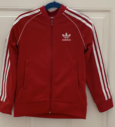 ADIDAS Boys Soccer Warm Up Jacket Size XS Red With White Stripes EUC $8.95