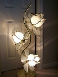 Vintage 40quot; Extra Large 3 Light Lotus Flower Brass Floor Table Lamp $250.00