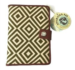 Spartina 449 E Book Cover Yemassee Trail Diamond Pattern Linen amp; Leather New $28.95