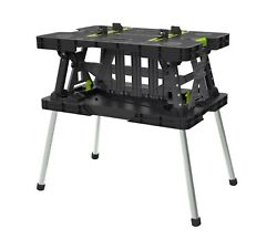 Keter Folding Work Table Workbench Sawhorse W 4 Mini Clamps 1000 LBS. Capacity $90.99