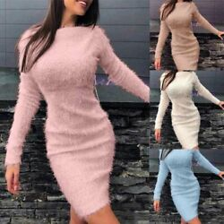 Mini Dress Bodycon Sexy Evening Party Dresses Ladies Long Sleeve Plushy Womens $17.82