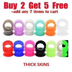 Pair of Thick Ear Gauges Plugs Soft Silicone Ear Flesh Tunnels Ear Stretchers $4.99