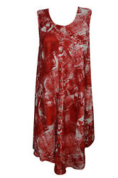 Boho Red Tie Dye Tank Dress Button Front Sleeveless Beach Cover Up Dresses L $14.99