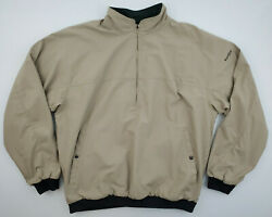 FootJoy Mens XL Reversible 1 2 Zip Tan Green Pullover Long Sleeve Golf Jacket $28.00