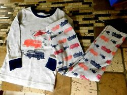 Old Navy Toddler Boys 2pc Pajamas 4T Gray w Multi Fire Truck Helicopter NWOT $6.99