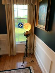Antique Bradley Hubbard Meriden Wrought Iron Floor Piano Lamp Cherub Putti $750.00