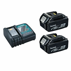 Makita DC18RC Battery Charger with 2 BL1840B LXT 18V 4 Ah Batteries w Indicator $39.99