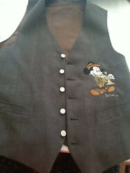Too Cute For DISNEY Mens Mickey Mouse wool blend Vest Pinstripe USA $23.95