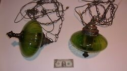 Lot of 2 Vintage 10quot; Wide Green Glass Hanging Lamps Swag UFO Light Lamp $449.00