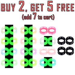 Pair Thin Soft Silicone Flesh Tunnels Ear Gauges Plugs Earskin Expander 2g 3 4quot; $4.99