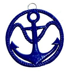 Nautical Ships Anchor Cast Iron Kitchen Counter Top or Wall Hanging Trivet Blue $12.99