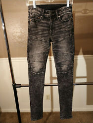 American Eagle Mens Next Level Flex Stacked Skinny Moto Jeans 26 X 33 $28.00