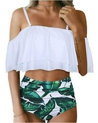 Tempt Me Women Two Piece Swimsuit High Waisted Off Wt Gn Leaf 6 Size X Large Y $9.99