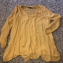 American Eagle Yellow Lace Long Sleeve Tunic Top Size M $11.99