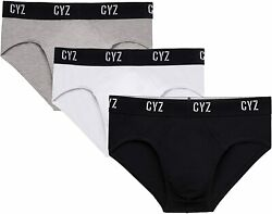 CYZ Men#x27;s 3 PK Cotton Stretch Hip Briefs for Men Pack of 3 $39.14