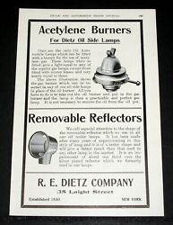 1905 OLD MAGAZINE PRINT AD DIETZ ACETYLENE BURNERS FOR DIETZ OIL SIDE LAMPS $12.99