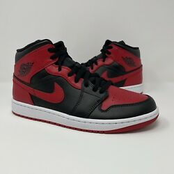 Nike Jordan 1 Mid Banned Bred Mens Size 10 Black Red White 554724 074 Dead Stock $149.99