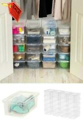 Shoe Storage Boxes Plastic Bin with Lid Stackable Design Container Clear 20 Pack $36.99