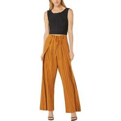 BCBG Max Azria Women#x27;s Linen Blend Striped High Waisted Wide Leg Pleated Pants $17.99