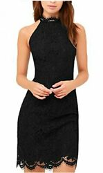Zalalus Lace Dress Elegant High Neck Sheath Black Cocktail Black Size 8.0 pTo $9.99