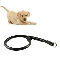 1PC Stylish Black Round Soft Tanned Leather Chain Dog Collars for Small Dogs $12.67