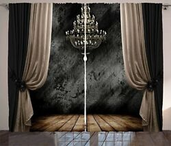 Classical Curtains Chandelier Look Illustration Window Drapes 50% Blackout $27.82
