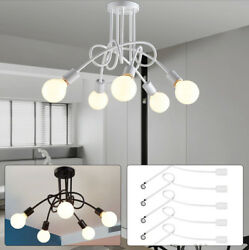 Ceiling Vintage Industrial Pendant E27 5Head Edison Light Chandelier Black White $49.88