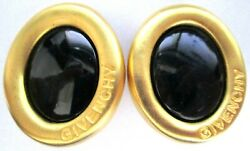GIVENCHY Black Cabochon Golden Oval Vintage Clip Earrings $99.99