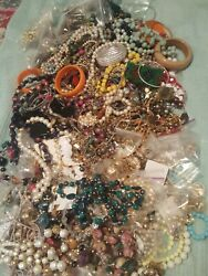 WEARABLE VINTAGE NOW COSTUME JEWELRY LOT FREE .925 Ring $20.00
