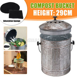 6L Steel Kitchen Compost Bin Bucket Garden Box With Vented Charcoal Filter $27.34