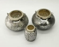 Silver Glass Candle Lantern Set of 3 Honeybomb Beehive Candle Bohemian $39.77