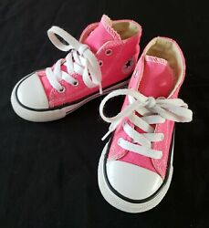 Converse All Star Toddler Girl#x27;s Size 7 Bright Pink High Top Shoes $16.95