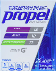 Propel Zero Calorie Nutrient Enhanced Water Beverage Mix 36 packets berry... $14.70