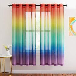 NICETOWN Rainbow Ombre Sheer Curtains for Bedroom Girls Room Decor 2 Tone Ombre $54.32