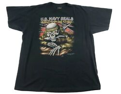 Vintage 3D Emblem Navy Seals 1992 Black T Shirt Skull XL Survival Single stitch $58.00
